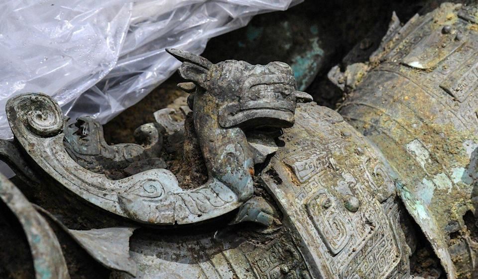Some of the ancient bronzes uncovered recently at the site in Sichuan. Photo: Xinhua