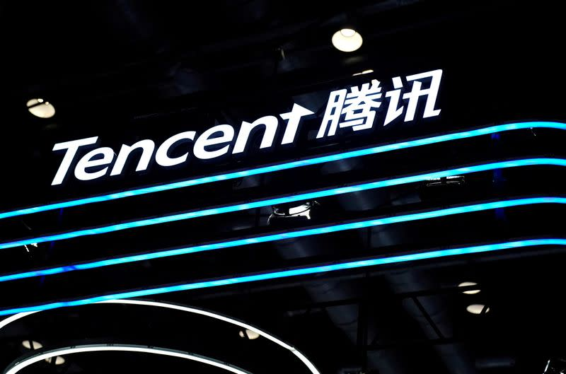 FILE PHOTO: Logo of Tencent is seen at its booth at the 2020 China International Fair for Trade in Services (CIFTIS) in Beijing