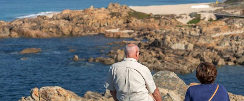 Leça da Palmeira/Porto/Portugal - 10 04 2018: View of senior couple relaxing with view to Leca da Palmeira beach, Porto, Portugal