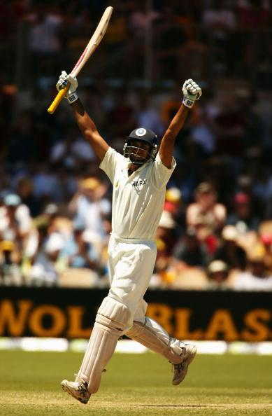 ADELAIDE, AUSTRALIA - DECEMBER 14:  VVS Laxman of India celebrates his century during the third day of the 2nd Test between Australia and India at the Adelaide Oval on December 14, 2003 in Adelaide, Australia. (Photo by Mark Dadswell/Getty Images)