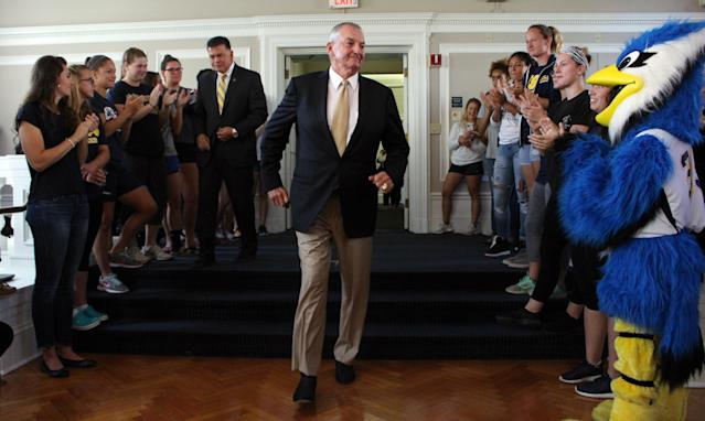Jim Calhoun was introduced at Saint Joseph as a consultant in 2017 and has since worked to build up the school's men's basketball program. (AP Photo)