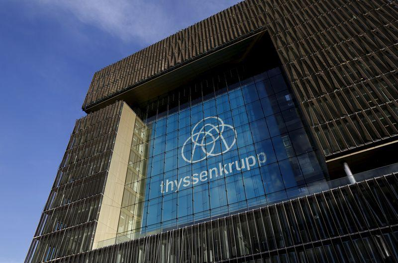 File photo of Thyssenkrupp AG's new company logo adorning its headquarters in Essen