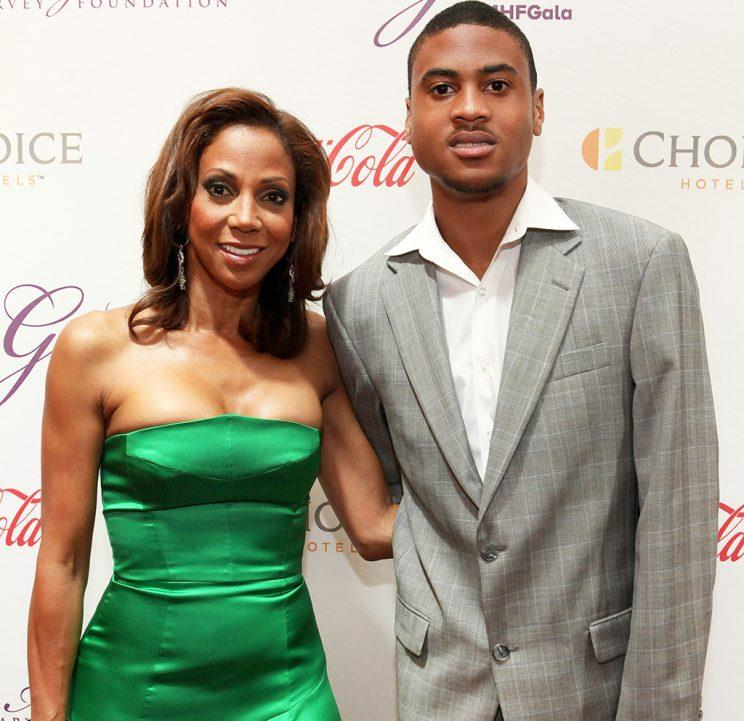 Holly Robinson-Peete and her son Rodney Peete, Jr. attends the 2015 Steve and Marjorie Harvey Foundation Gala at the Hilton Chicago on May 16, 2015 in Chicago, Illinois.