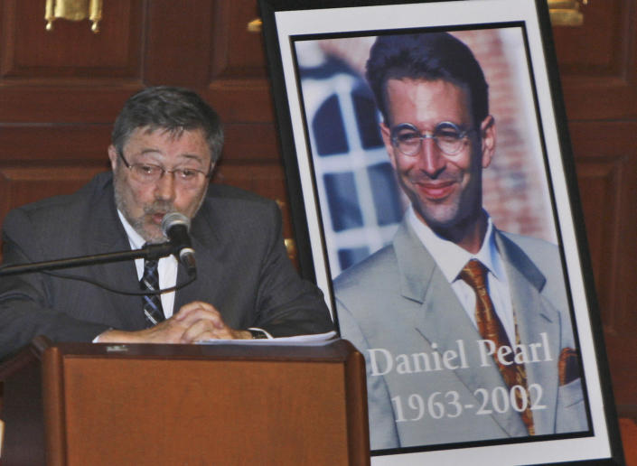 FILE - In this April 15, 2007, file photo, Dr. Judea Pearl, father of American journalist Daniel Pearl, who was killed by terrorists in Pakistan in 2002, speaks in Miami Beach, Fla. Emma Kostyun, a recent graduate of Pittsfield, Mass. High School, whose love of music developed into a love of the written word and a passion for journalism, was named Wednesday, June 16, 2021, the 2021 recipient of a college scholarship founded in honor of slain Wall Street Journal reporter Daniel Pearl. (AP Photo/Wilfredo Lee, File)