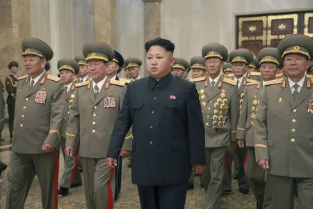 North Korean leader Kim visits the Kumsusan Palace of the Sun to mark the 61st anniversary of the victory of the Korean people in the Fatherland Liberation War
