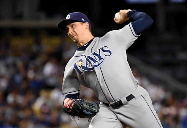 "<a class=""link rapid-noclick-resp"" href=""/mlb/players/10148/"" data-ylk=""slk:Blake Snell"">Blake Snell</a> of the <a class=""link rapid-noclick-resp"" href=""/mlb/teams/tampa-bay/"" data-ylk=""slk:Tampa Bay Rays"">Tampa Bay Rays</a> pitched Tuesday against the Los Angeles <a class=""link rapid-noclick-resp"" href=""/mlb/teams/la-dodgers/"" data-ylk=""slk:Dodgers"">Dodgers</a>. (Photo by Jayne Kamin-Oncea/Getty Images)"