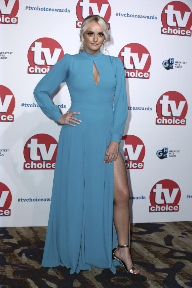 Actress Katie McGlynn poses for photographers on arrival at the TV Choice Awards in central London on Monday, Sept. 9, 2019. (Photo by Grant Pollard/Invision/AP)