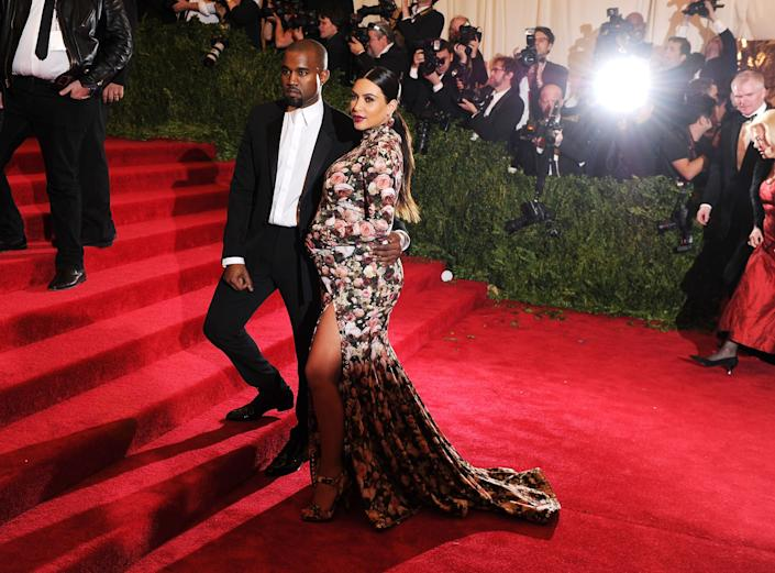 NEW YORK, NY - MAY 06: Kanye West and Kim Kardashian attend the Costume Institute Gala for the 'PUNK: Chaos to Couture' exhibition at the Metropolitan Museum of Art on May 6, 2013 in New York City. (Photo by Dimitrios Kambouris/Getty Images)