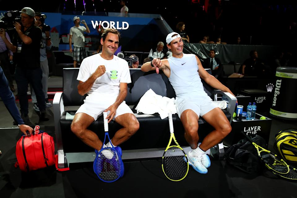 Roger Federer (pictured left) and teammate Rafael Nadal (pictured right) during practice ahead of the Laver Cup 2019.