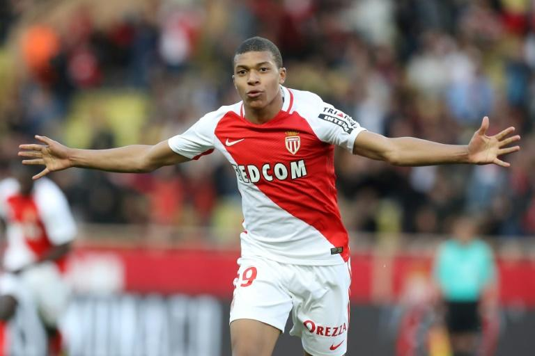 Monaco's Kylian Mbappe celebrates after scoring a goal during their French Ligue 1 match against Bordeaux, at the Louis II Stadium in Monaco, on March 11, 2017