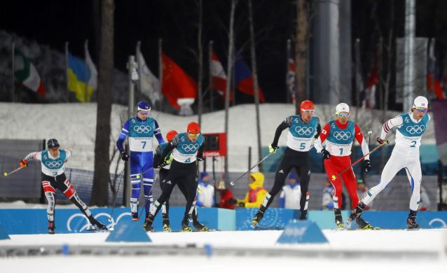 Nordic Combined Events - Pyeongchang 2018 Winter Olympics - Men's Individual 10 km Final - Alpensia Cross-Country Skiing Centre - Pyeongchang, South Korea - February 20, 2018 - Wilhelm Denifl of Austria, Eero Hirvonen of Finland, Fabian Riessle of Germany, Eric Frenzel of Germany, Johannes Rydzek of Germany, Akito Watabe of Japan and Jarl Magnus Riiber of Norway in action. REUTERS/Kai Pfaffenbach