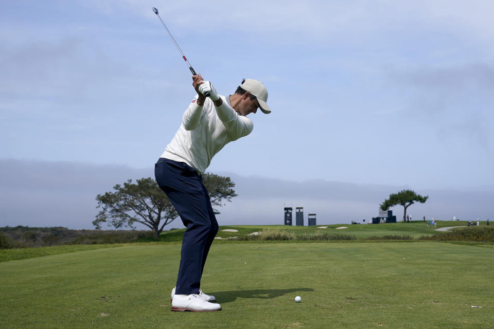 Adam Scott, of Australia, plays his shot from the 16th tee during a practice round of the U.S. Open Golf Championship, Wednesday, June 16, 2021, at Torrey Pines Golf Course in San Diego. (AP Photo/Marcio Jose Sanchez)