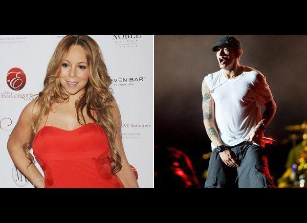 "Is there anyone Eminem hasn't feuded with? Eminem and Mariah Carey began to spar after he claimed that they used to have a sexual relationship. Mariah denied the relationship, telling Larry King, ""I hung out with him, I spoke to him on the phone. I think I was probably with him a total of four times. And I don't consider that dating somebody."" Mariah later mocked his claim in her video for ""Obsessed,"" which featured an Eminem look-alike who was obsessed with her. The rapper retaliated with a number of songs that mentioned Carey and threatened to release nude photos of the singer as well as voicemails to prove they dated. In the song ""The Warning"" he raps: ""Shut the fuck up before I put up all the phone calls you made to my house when you were ""Wild N' Out"" before Nick, when you was on my dick and give you something to smile about."""