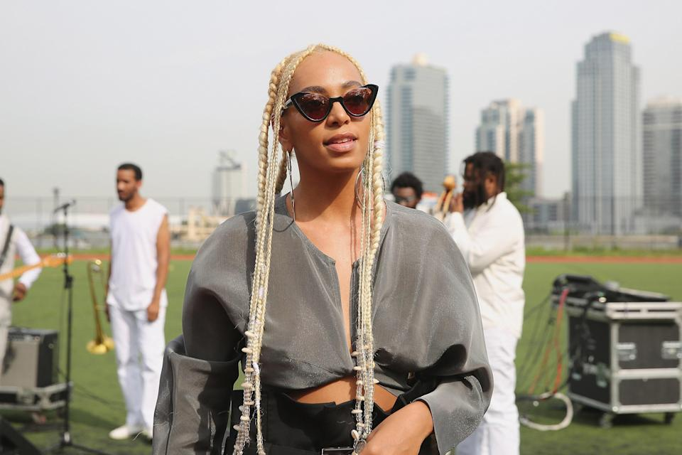 Solange is always raising the bar with her hairdos. These platinum blond goddess braids and shells will really turn heads.