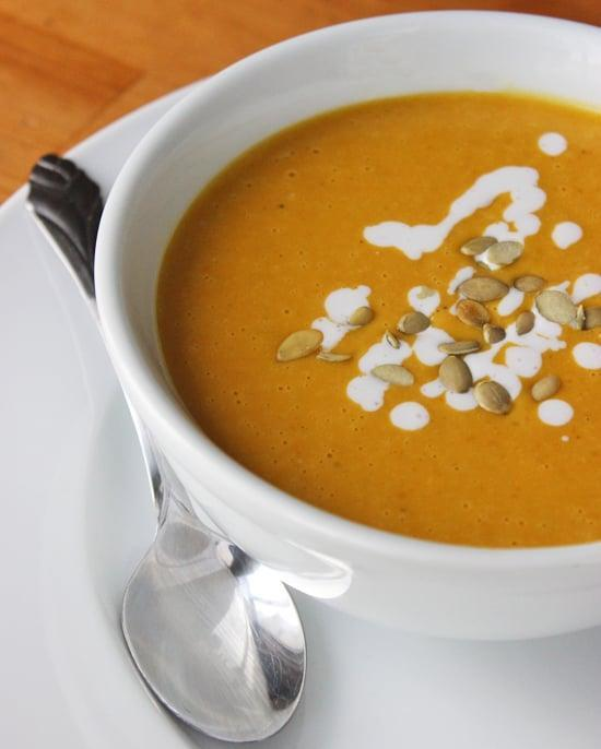 """<p>You won't believe there's no cream - just a hearty helping of coconut milk - in this flavorful pumpkin bisque.</p> <p><strong>Get the recipe:</strong> <a href=""""https://www.popsugar.com/fitness/Healthy-Pumpkin-Soup-Recipe-31876214"""" class=""""link rapid-noclick-resp"""" rel=""""nofollow noopener"""" target=""""_blank"""" data-ylk=""""slk:nondairy pumpkin bisque"""">nondairy pumpkin bisque</a></p>"""