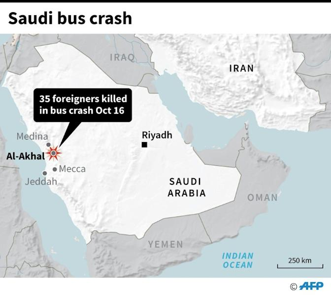 Map locating a fatal bus crash in Saudi Arabia on Wednesday