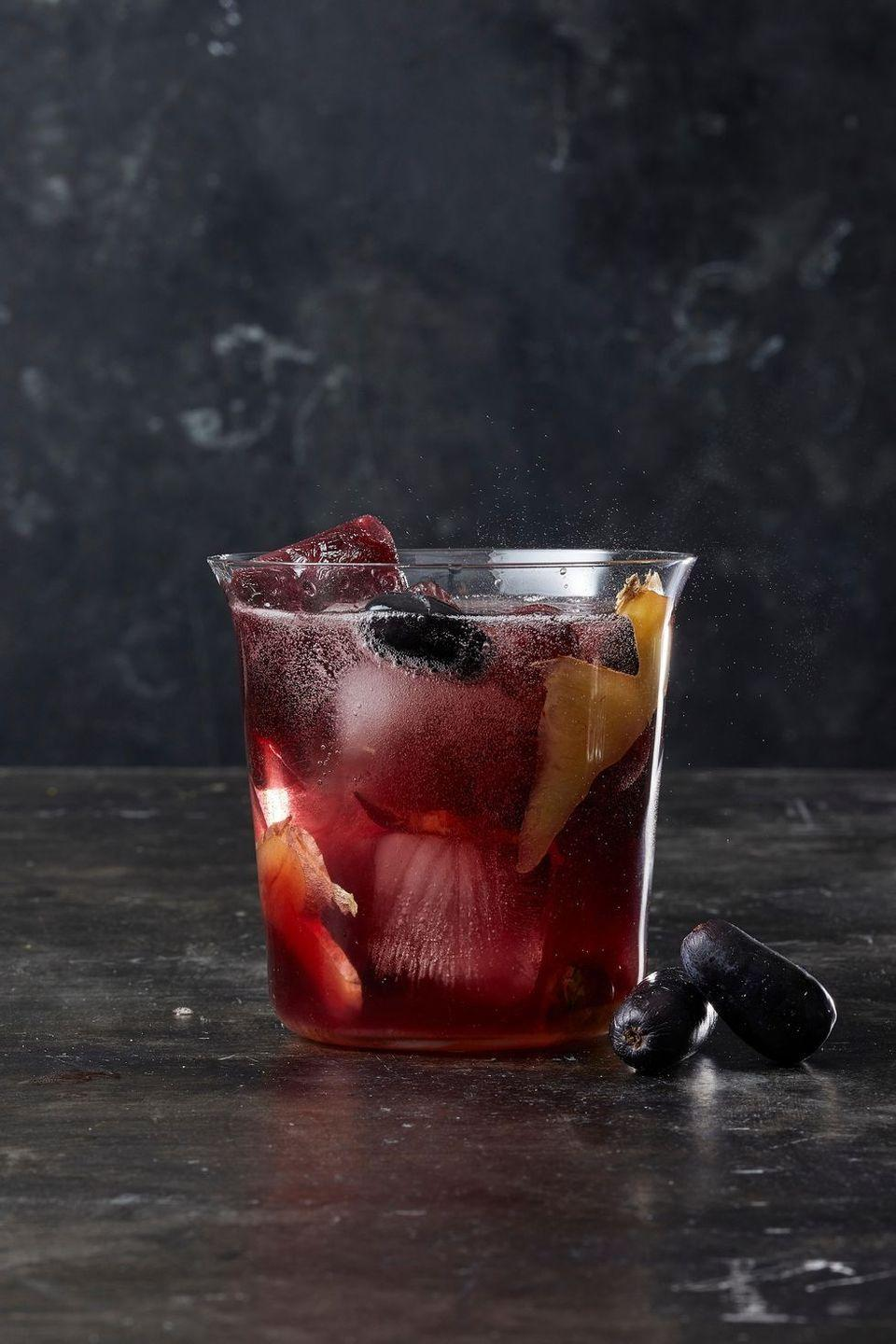 """<p>It's all our favorite winter flavors — ginger, grape, brown sugar, and prosecco — in one gorgeous cup. </p><p><em><a href=""""https://www.goodhousekeeping.com/food-recipes/a28554897/sparkling-ginger-sangria-recipe/"""" rel=""""nofollow noopener"""" target=""""_blank"""" data-ylk=""""slk:Get the recipe for Sparkling Ginger Sangria »"""" class=""""link rapid-noclick-resp"""">Get the recipe for Sparkling Ginger Sangria »</a></em> </p>"""