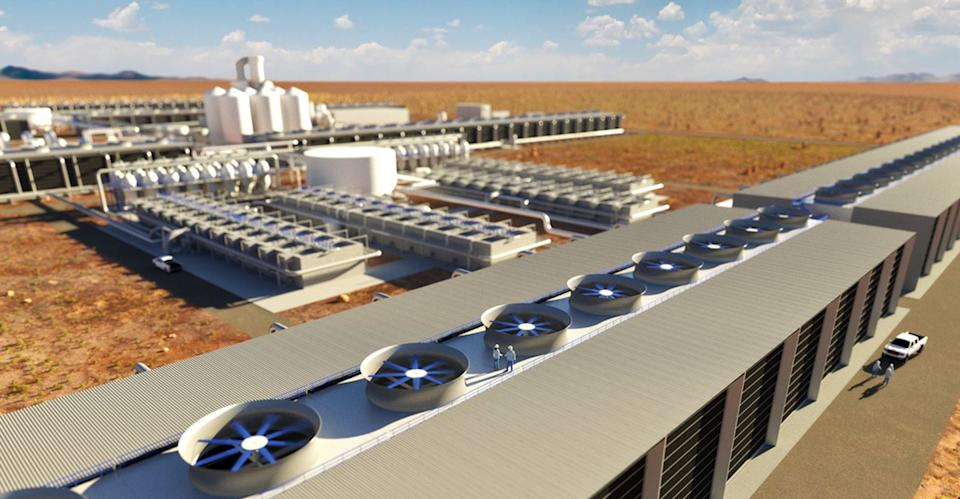 A rendering from the Canadian firm Carbon Engineering shows what one of its future direct air capture plants may look like.  (Photo: Carbon Engineering)