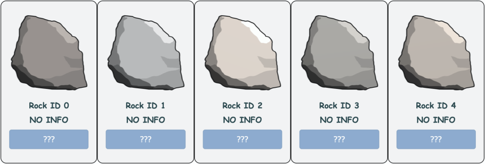 Examples of currently available EtherRocks.