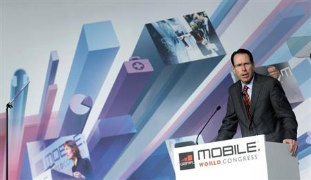 AT&T's Chairman and CEO Randall Stephenson speaks during a news conference at the Mobile World Congress in Barcelona