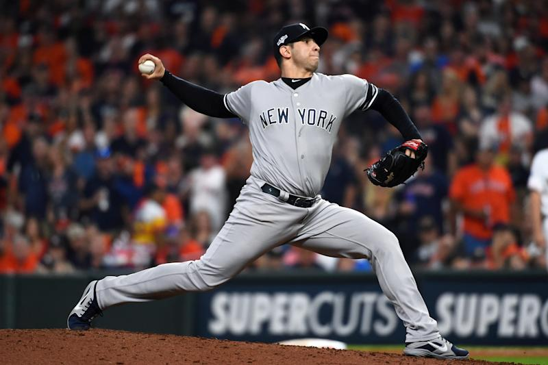 HOUSTON, TX - OCTOBER 19: Luis Cessa #85 of the New York Yankees pitches during Game 6 of the ALCS between the New York Yankees and the Houston Astros at Minute Maid Park on Saturday, October 19, 2019 in Houston, Texas. (Photo by Cooper Neill/MLB Photos via Getty Images)