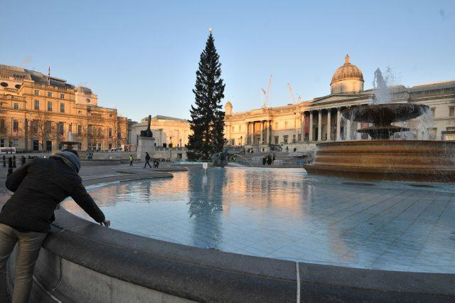 Ice forming in the fountains in Trafalgar Square, London (Victoria Jones/PA)