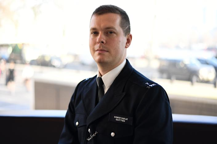 PC Stuart Outten at New Scotland Yard in London. Muhammad Rodwan, 56, has been found guilty at the Old Bailey of wounding with intent but not guilty of possessing an offensive weapon and attempted murder for his attack on Pc Outten in August 2019.