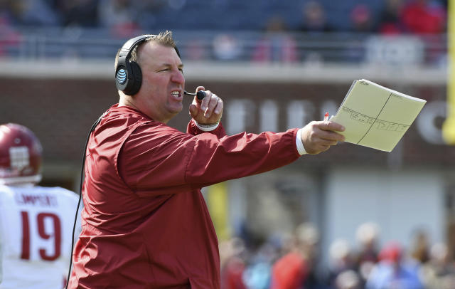 Arkansas head coach Bret Bielema reacts during the first half of an NCAA college football game against Mississippi in Oxford, Miss., Saturday, Oct. 28, 2017. (AP Photo/Thomas Graning)