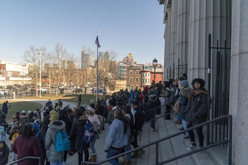 Students at Philadelphia High School of Creative And Performing Arts participate in a walkout to address school safety and gun violence in Philadelphia, on March 14, 2018.
