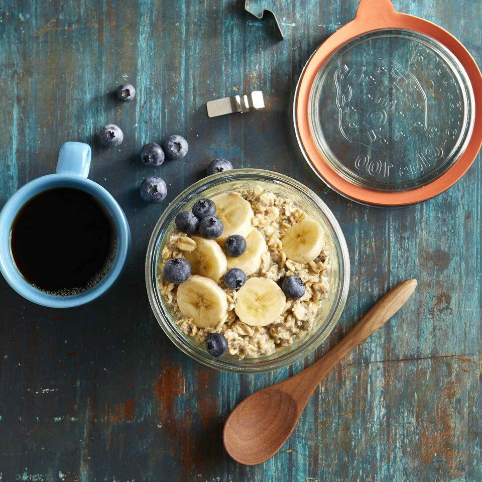 """<p>Powdered peanut butter is a handy pantry staple that makes a great vegan protein booster for oatmeal and smoothies. Double or triple this recipe to meal-prep breakfasts for the week or to have breakfast ready for the entire family. <a href=""""https://www.eatingwell.com/recipe/268779/peanut-butter-protein-overnight-oats/"""" rel=""""nofollow noopener"""" target=""""_blank"""" data-ylk=""""slk:View Recipe"""" class=""""link rapid-noclick-resp"""">View Recipe</a></p>"""