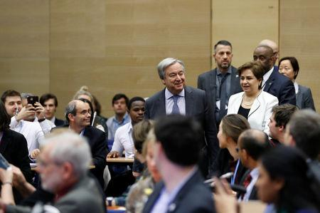 U.N. Secretary General Antonio Guterres meets with representatives of various NGO organisations before the final session of the COP24 U.N. Climate Change Conference 2018 in Katowice