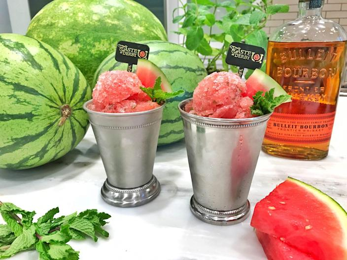 """<p><strong>Recipe: <a href=""""https://www.southernliving.com/recipes/chadwick-boyd-watermelon-derby-juleps-recipe"""" rel=""""nofollow noopener"""" target=""""_blank"""" data-ylk=""""slk:Watermelon Julep"""" class=""""link rapid-noclick-resp"""">Watermelon Julep</a></strong></p> <p>Frozen watermelon replaces shaved ice in this summer-ready take on the classic Derby drink.</p>"""