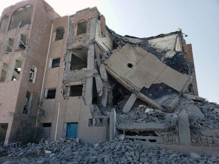 View of a Houthi detention center after it was hit by Saudi-led air strikes in Dhamar