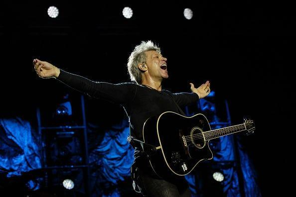 Jon Bon Jovi performs with the band at Park HaYarkon last year in Tel Aviv, Israel. Jon Bon Jovi of Bon Jovi performs at Park HaYarkon on October 3, 2015 in Tel Aviv, Israel.