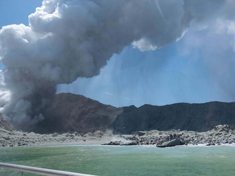 New Zealand's White Island spewing steam and ash minutes after an eruption: Michael Schade/AFP via Getty