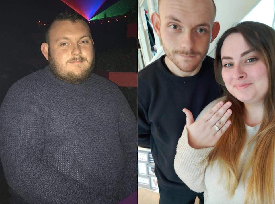 Jamie Haviland has lost half his body weight in time to propose to his girlfriend, Ashleigh Guy. (Caters)