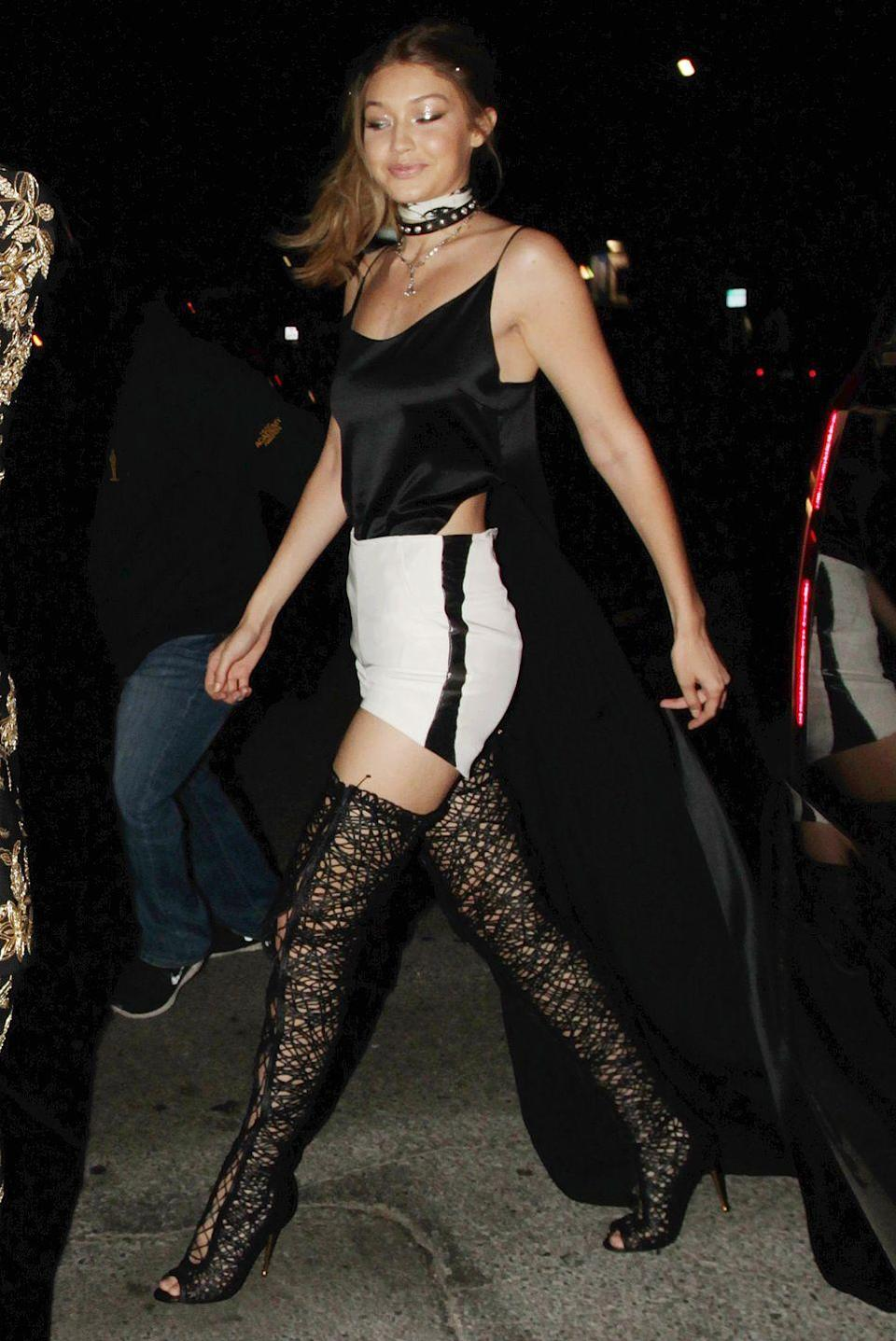 <p>The newly 21-year-old steps out in dangerously sexy boots for yet another birthday party at The Nice Guy in Los Angeles.</p>