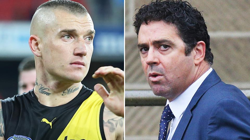 A 50-50 split image shows Dustin Martin on the left and Garry Lyon on the right.