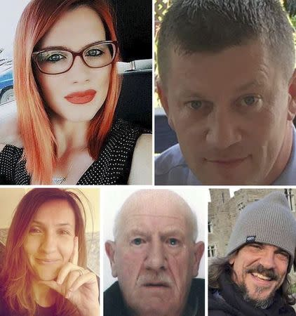 The five victims of the Westminster attack are seen in this combination image of five undated handout photographs received from the Metropolitan Police in London, Britain April 7, 2017. TOP L-R: Andreea Cristea, PC Keith Palmer. BOTTOM L-R: Aysha Frade, Leslie Rhodes, Kurt Cochran.    REUTERS/Metropolitan Police/Handout