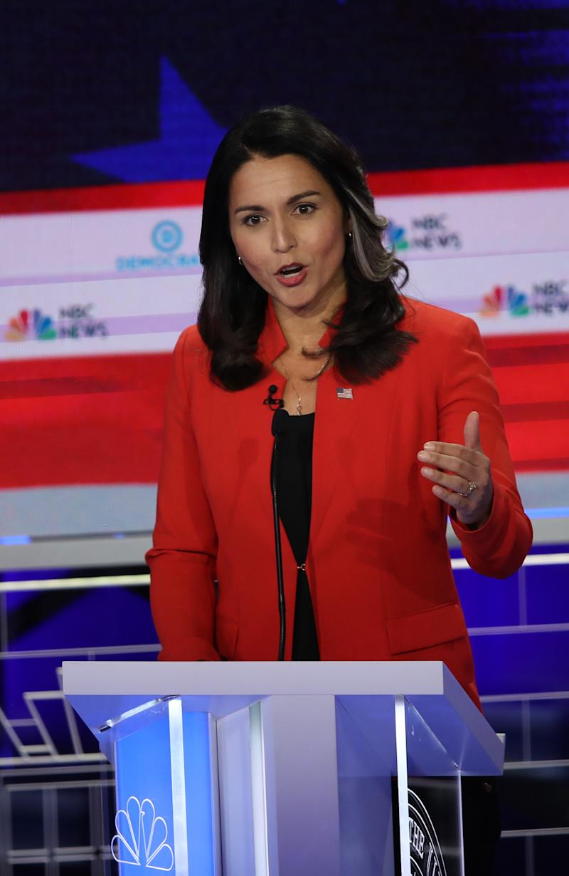 The sister of Congresswoman Tulsi Gabbard (pictured) defended her sister's lack of air time during the June 26th Democratic Debate. (Photo: Getty Images)