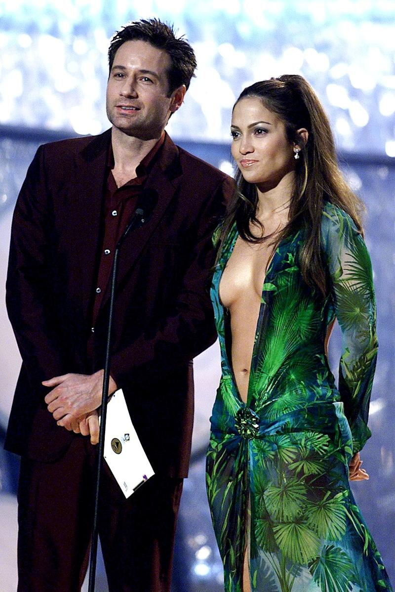 David Duchovny and Jennifer Lopez presenting the first award of the evening at the 42nd Annual Grammy Awards in Los Angeles on February 23, 2000.
