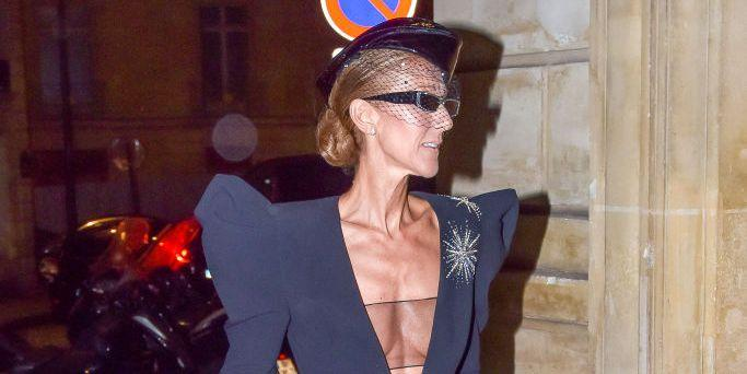 Celine Dion Is a High Fashion Flight Attendant in This Plunging ... 5685209860cef