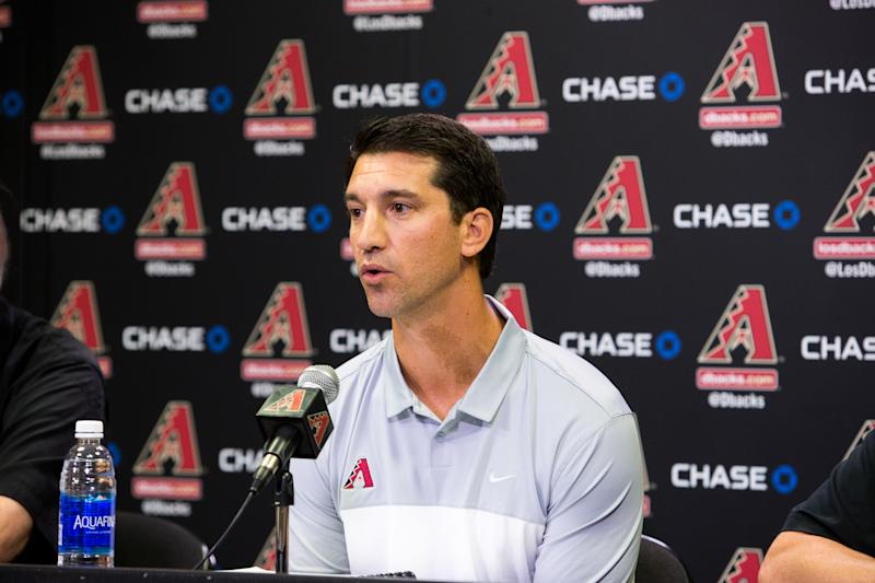 PHOENIX, AZ - OCTOBER 17: Arizona Diamondbacks General Manager, Mike Hazen, addresses the media during a press conference in regards to his new position on October 17, 2016 in Phoenix, Arizona. (Photo by Sarah Sachs/Arizona Diamondbacks/Getty Images)