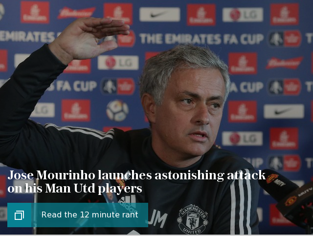 Jose Mourinho launches astonishing attack on his Man Utd players