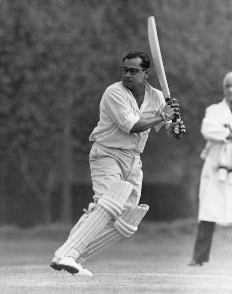 23rd April 1959:  Indian cricketer Pankaj Roy (1928 - 2001) opening the batting at Osterley Park during a match against the Indian Gymkhana Cricket Club.  (Photo by William Vanderson/Fox Photos/Getty Images)