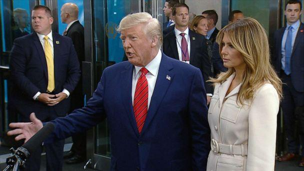 PHOTO: President Donald Trump accompanied by his wife Melania, arrives at the UN General Assembly in New York, Sept. 24, 2019. (ABC News)