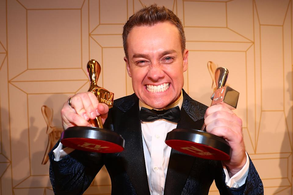 Grant Denyer celebrates winning the Gold Logie at the 60th Annual Logie Awards at The Star Gold Coast on July 1, 2018 in Gold Coast, Australia