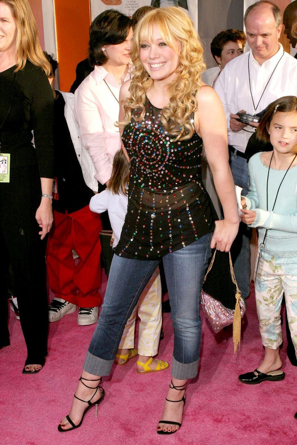 <p>Hilary Duff in a denim trend we're glad stayed (mostly) in the early aughts: whiskering.</p>