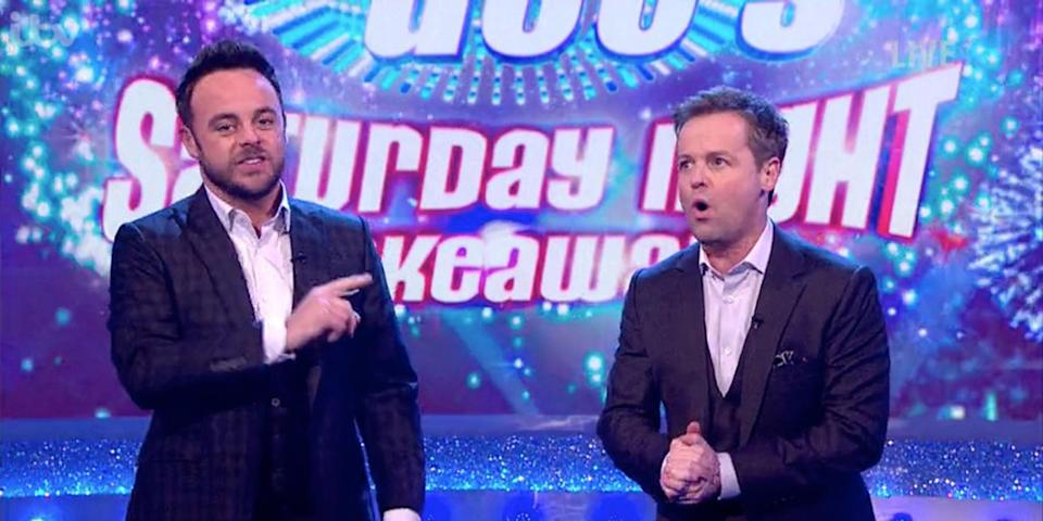 Ant suffered whilst filming Saturday Night Takeaway. Copyright: [ITV]