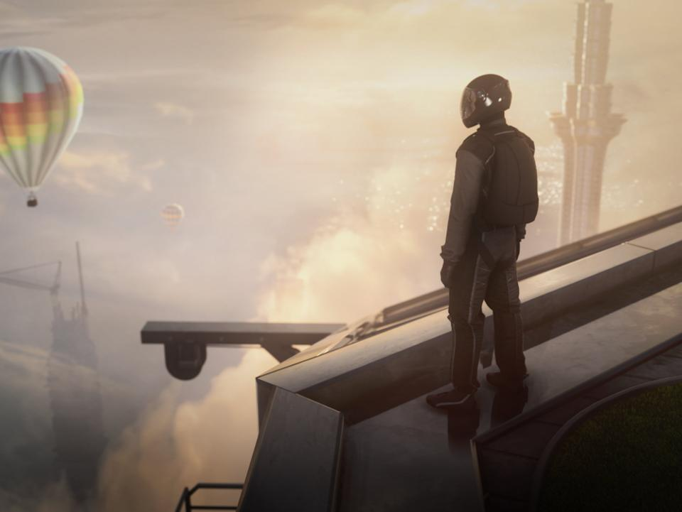 Agent 47 stands atop a skyscraper in the game's first missionIO Interactive